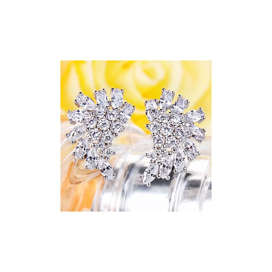 EleQueen 925 Sterling Silver Full Cubic Zirconia Marquise Angel Wing Bridal Stud Earrings