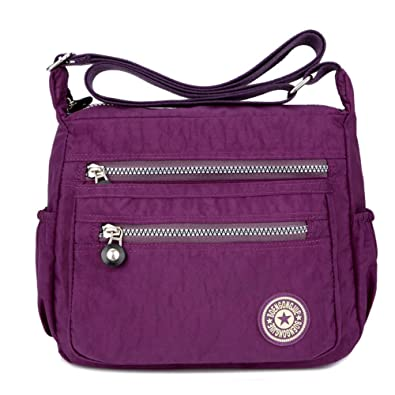 efdb7a0308a6 Women s Casual Multi Pocket Nylon Messenger Bags Cross Body Shoulder Bag  Travel Purse (Purple)