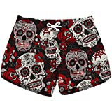 Beach Shorts Sugar Skulls and Roses 3D Women's Sexy Low Waist Yoga Shorts Quick Dry Women Swim Trunks