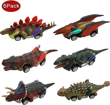 Angusiasm Coches Juguete para Niños Dinosaurios Juguetes Animales Juguetes Pack de 6 Vehículos para Niños de 2 3 4+ ...