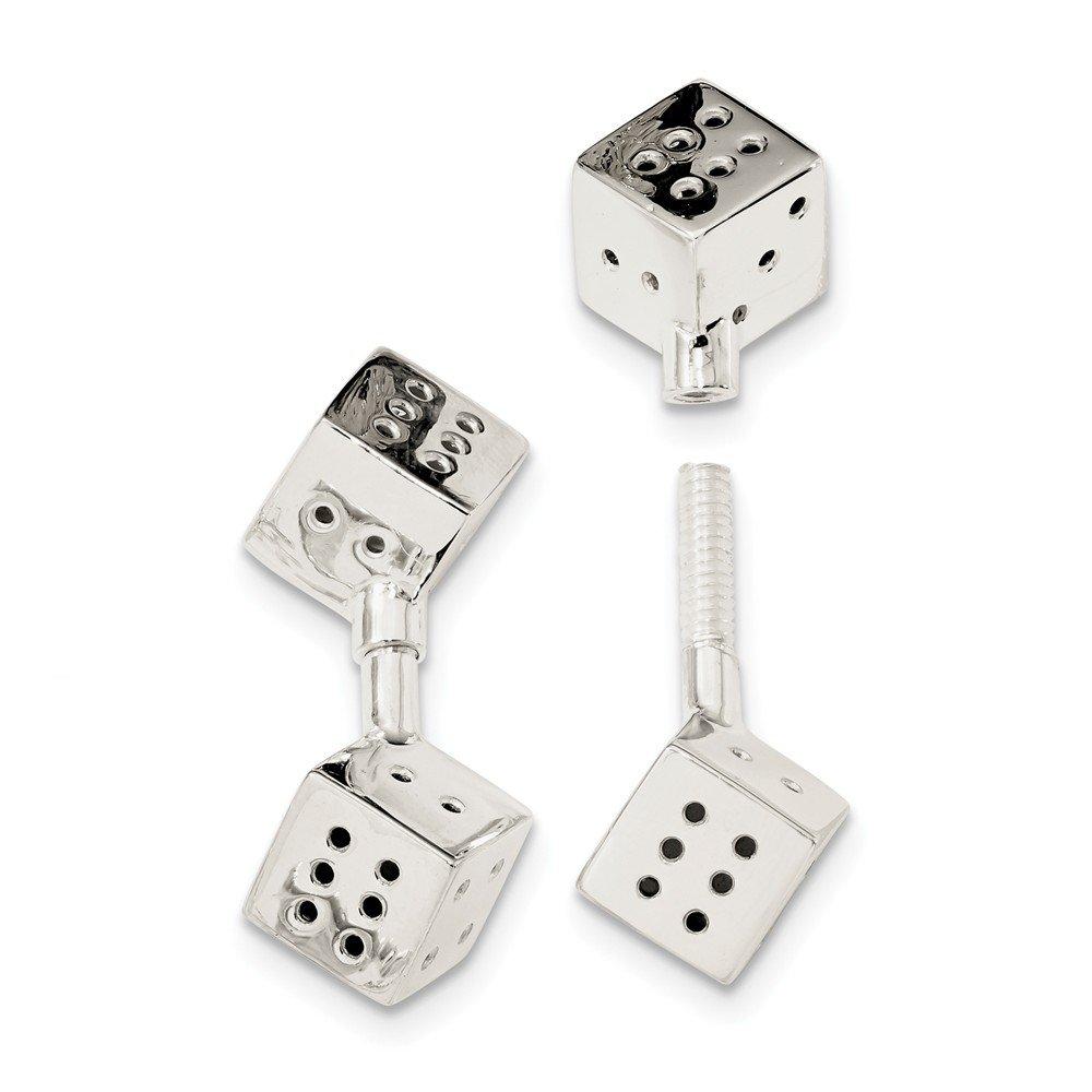 Jewel Tie 925 Sterling Silver Screw-on Dice Cuff Links 15.2mm x 34.4mm