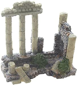 emours Aquarium Decoration Fish Tank Landscape Ornament Vintage Ruins Roman Column