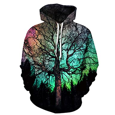 Xinxing Space Galaxy Tree 3D Printed Hooded Sweatshirt Men Women Sweatshirts Hoodies Mens Harajuku Hip Hop