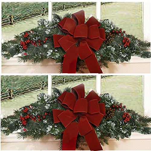 Set of 2 christmas window swags with 2 red velvet bows for Christmas swags and garlands to make