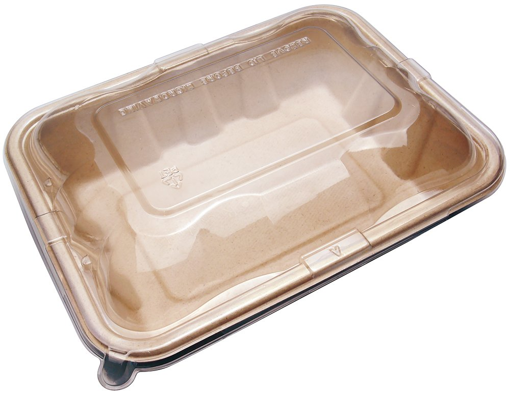 Compostable Eco Friendly Container Trays with Lids - 32oz Deep Containers made from Tree-Free Bagasse Sugarcane for Meal Prep Dinnerware Plates Catering Bento Boxes Takeout 100% by products (400 Sets)