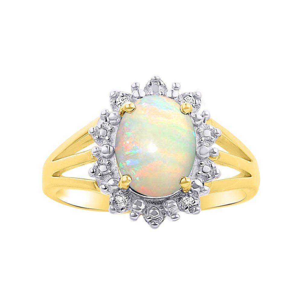 Princess Diana Inspired Halo Diamond & Opal Ring Set In 14K Yellow Gold