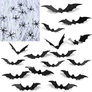Twister.CK 67 Pack Halloween Decorations, 36 Pack Halloween 3D Bats Wall Decor Stickers, 1 Pack 200sqft Halloween Spider Web with 30 Fake Spiders, for Halloween Party Supplies Indoor Outdoor Party Decorations