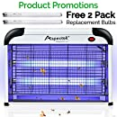 Aspectek 20W Bug Zapper Electric Indoor Insect Killer and Mosquito Fly Killer Zapper with 2800V Grid 6000sqft Coverage, 2 Pack Replacement Bulbs Free