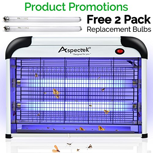 Aspectek 20W 6000sqft Coverage Electronic Indoor Commercial Insect and Mosquito Killer Zapper Eliminator, 2 Pack Replacement Bulbs Free