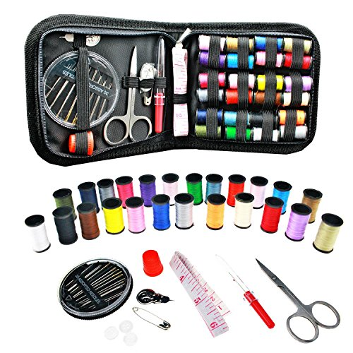 [24 Spools of Thread] Gold Meier Mini Travel Sewing Kit Emergency Sewing Supplies with Scissors, Thimble, Thread, Needles, Tape Measure, Carrying Case, Perfect for Repairing and Mending