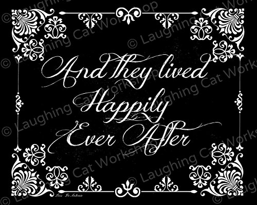 Cinderella Princess wedding decor, They Lived Happily Ever After, Vintage shabby chic country cottage fairy tale wedding print, Black and white Engagement Bridal Shower Anniversary gift
