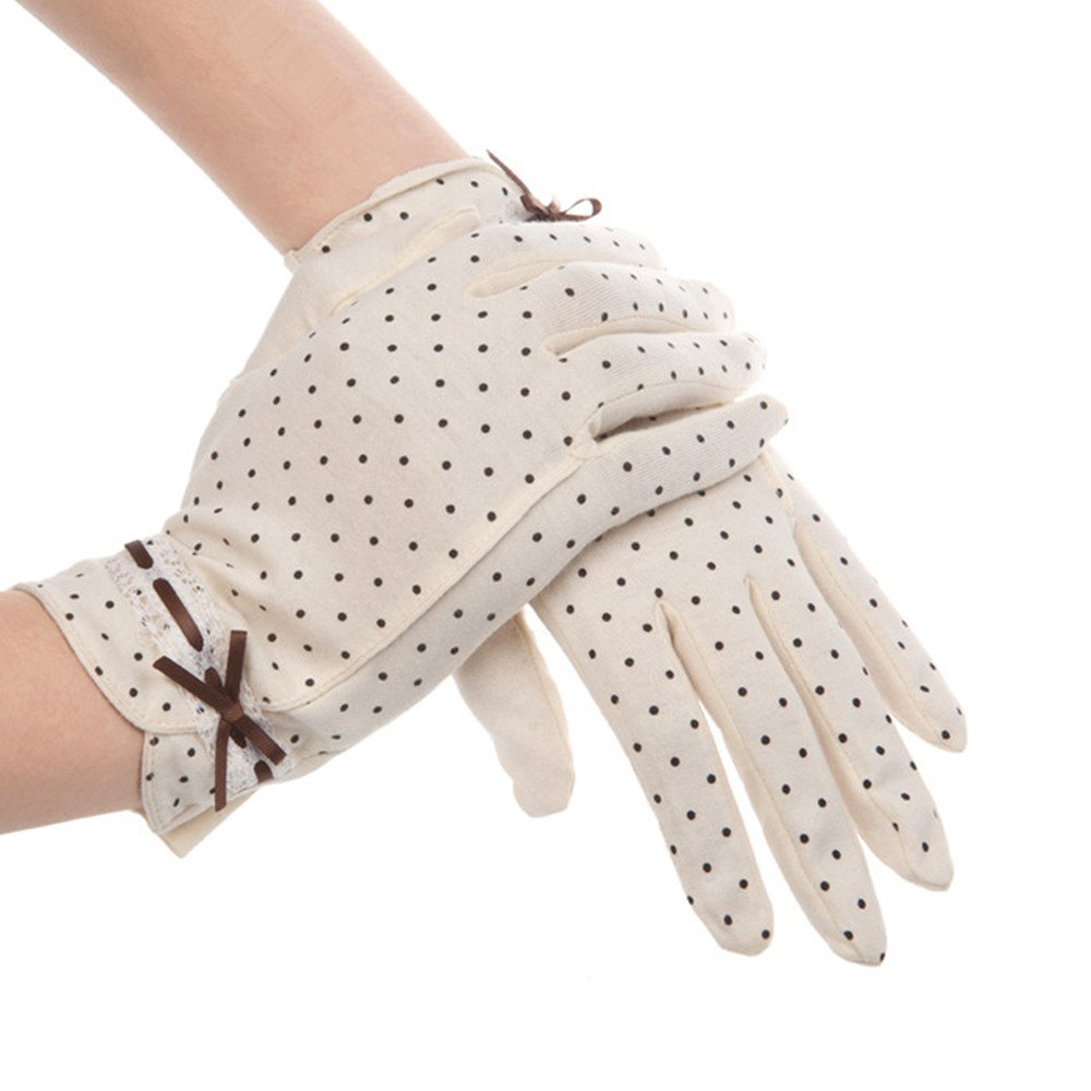 Kenmont Summer Women Dots Sun Uv Protection Outdoor 100% Cotton Driving Gloves (Beige)