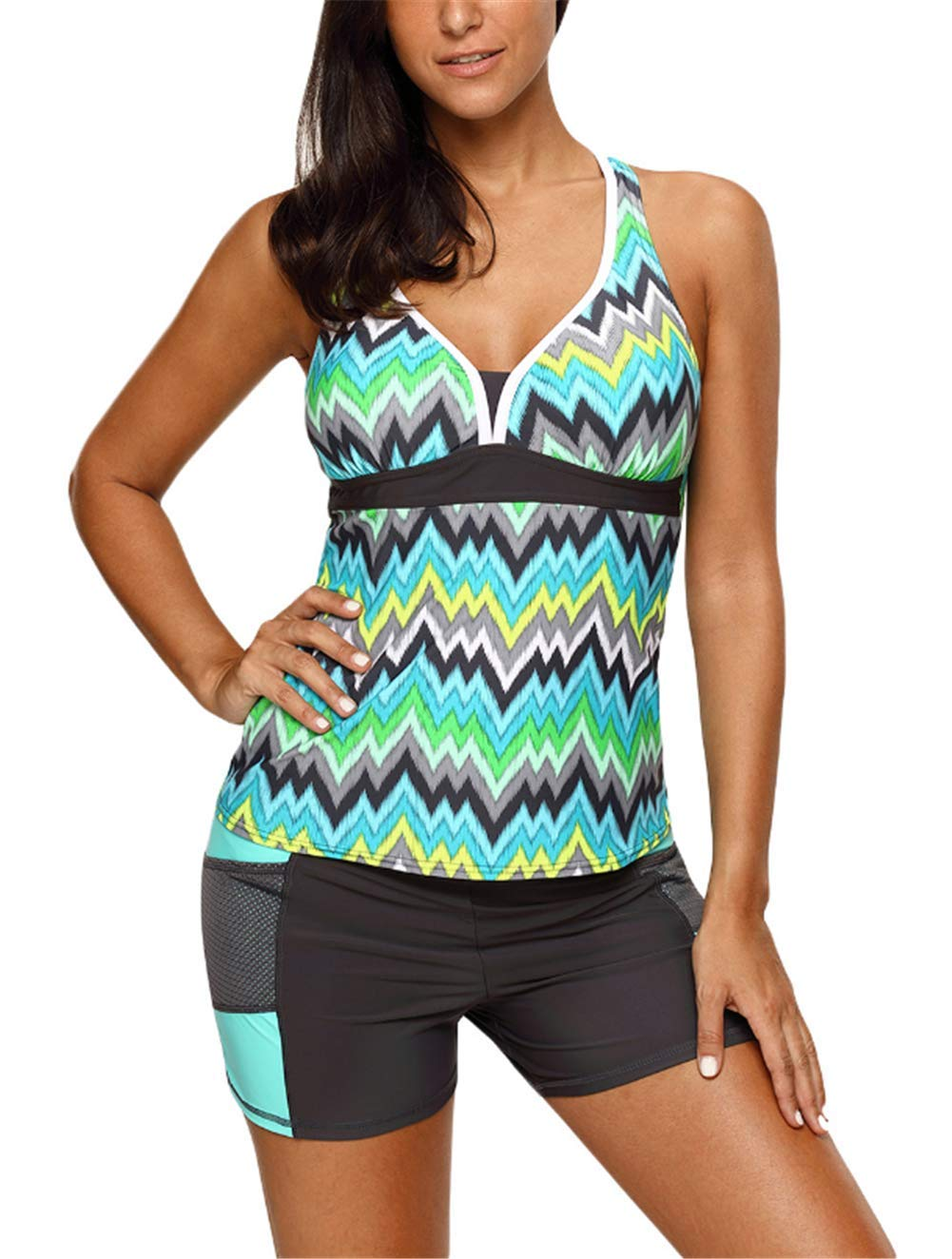 73b1a15aa00a2 GDL Women Two-Piece Tankini Swimsuits Multicolor Print V-Neck Short Set  Bathing Suits Green-M