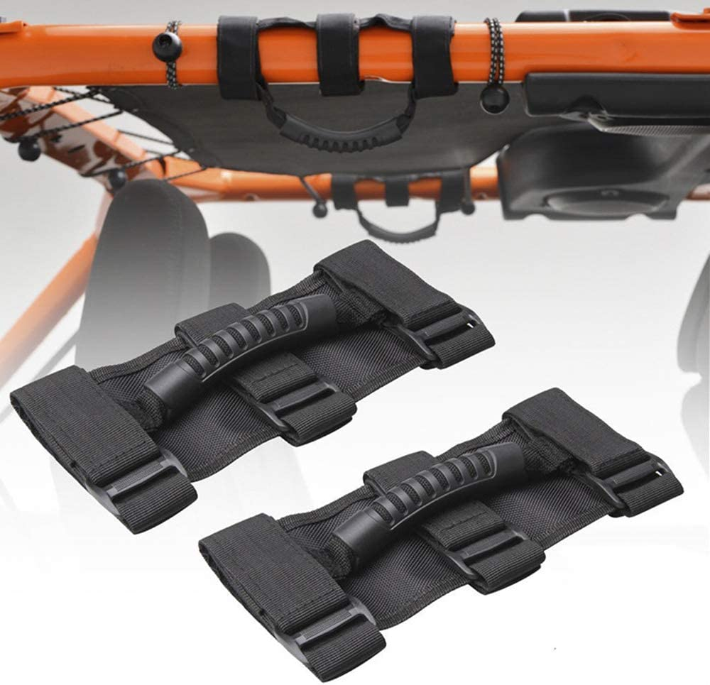 Wandi 2 Pack Grab Handle Set Jeep Grab Handles 3 Velcro Straps for Jeep Wrangler Roll Bars 1987-2020 Models