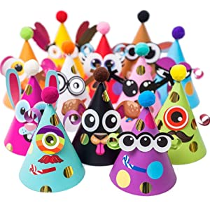 Party Hats Making Activity Kit – DIY Craft Set w/ 12 Colorful Hats, Pompoms and Stickers. Fun Celebration Kit for Kids Birthday, Easter, Christmas, Fiesta, Thanksgiving and New Year. Great as Handmade Decoration and Gifts, Group Activities, Game and Party Supplies for Boys & Girls