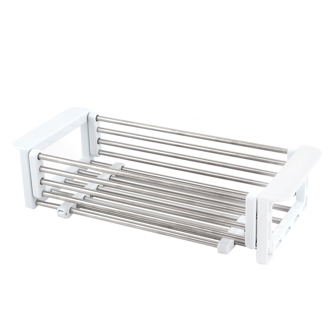 uxcell Metal Kitchen Telescopic Dish Drain Rack Sink Tray Colander Drying Holder White Silver Tone