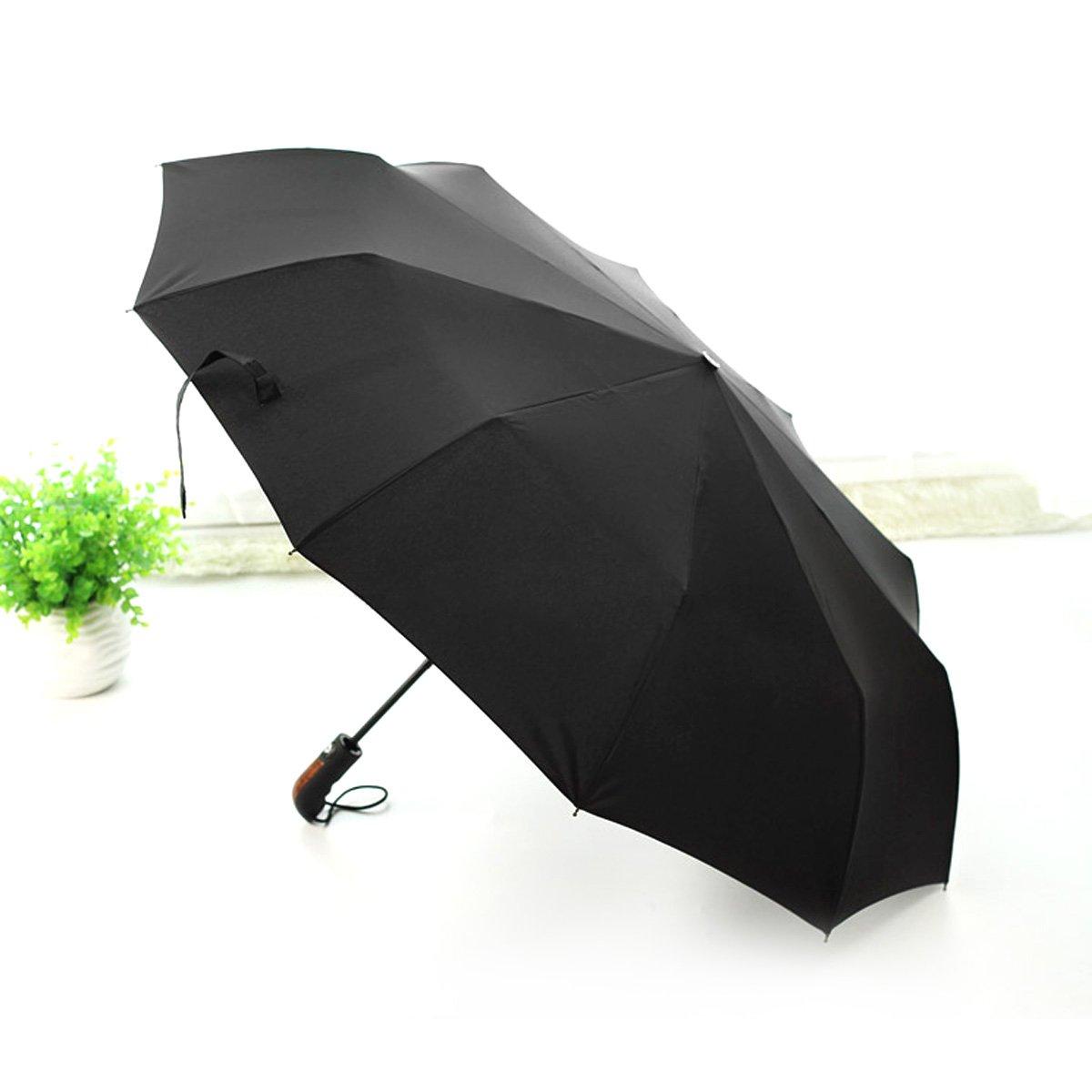 HQdeal Paraguas Plegable Automatico Negro Antiviento Grandes Paraguas de Viaje Sombrilla para Mujer Hombre Caballero Compacto: Amazon.es: Equipaje
