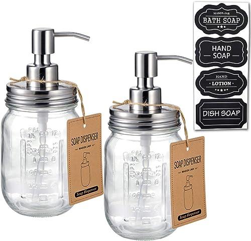 Amolliar Mason Jar Soap Dispensers