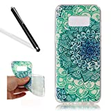 Leecase Pretty Cool Creative Green Jade Flower Painted Soft Flexible TPU Silicone Rubber Skin Bumper Cover Shock-Absorption Stylish Case Cover for Samsung Galaxy S8