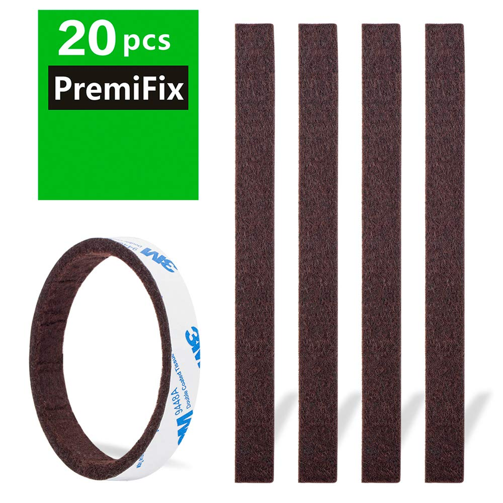 "Felt Strips 20Pieces Pack 1/2""x 6"" Self Adhesive Brown Furniture Felt Strips Anti Scratch Heavy Duty 5mm Thick Floor Protector for Rocking Chair for Hardwood Floor"