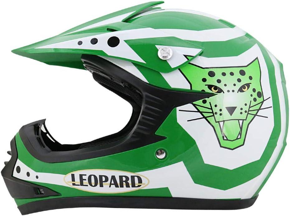 Brille} Kinder Motorradhelm Full Face MX Helmet M/ädchen Jungen Dirt Bike Handschuhe Leopard {Kinder MotocrossHelm