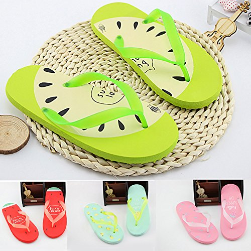 Thaibestus Trendy Flip Flops Funny Cartoon Fruit Slippers Women Summer Beach Flat Heel Shoes