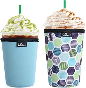 WKieason Reusable Iced Coffee Cup Insulator Sleeve for Cold Beverages and Neoprene Coffee Cup Holder Cooler Cover 16-24OZ for Starbucks Coffee, McDonalds, Dunkin Donuts, More (Green geometric)