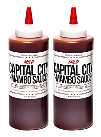 Capital City Mild Mambo Sauce - A Washington DC Wing Sauce (12 oz); Perfect for wings, chicken, pork, beef, and seafood (2 Pack)