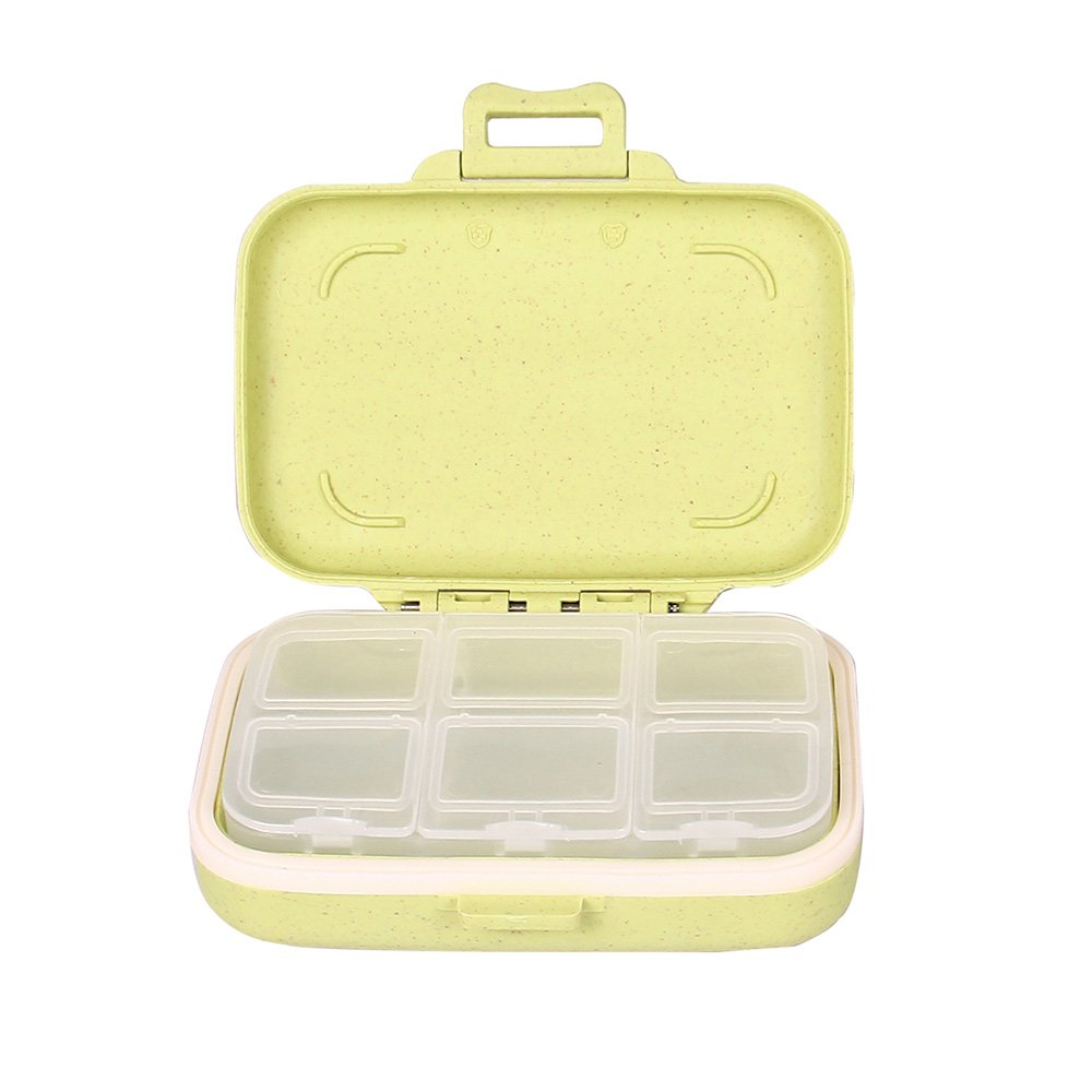 Small Pill Box - Travel Vitamin Organizer Food Grade Hard Plastic Material With Natural Wheat Fiber Removable 6-Compartment Pill Case Apple Green