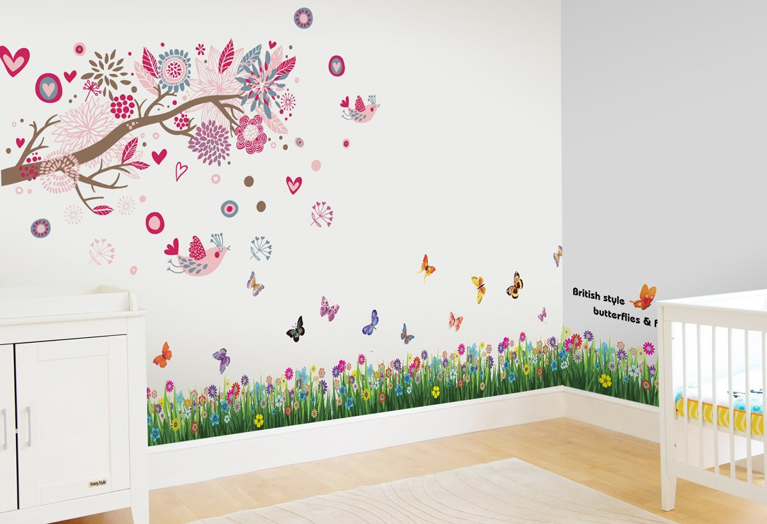 walplus wall stickers combo huge pink birds flowers plus but grass walplus wall stickers combo huge pink birds flowers plus but grass office home decoration 170cm x 150cm pvc removable transparent borders
