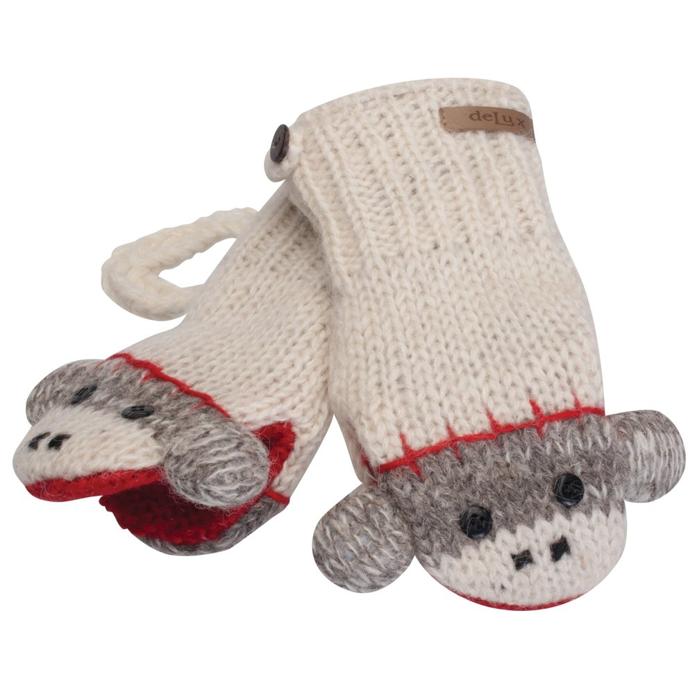 KnitWits Wool Fleece Lined Cute Sock Monkey Kids Mittens