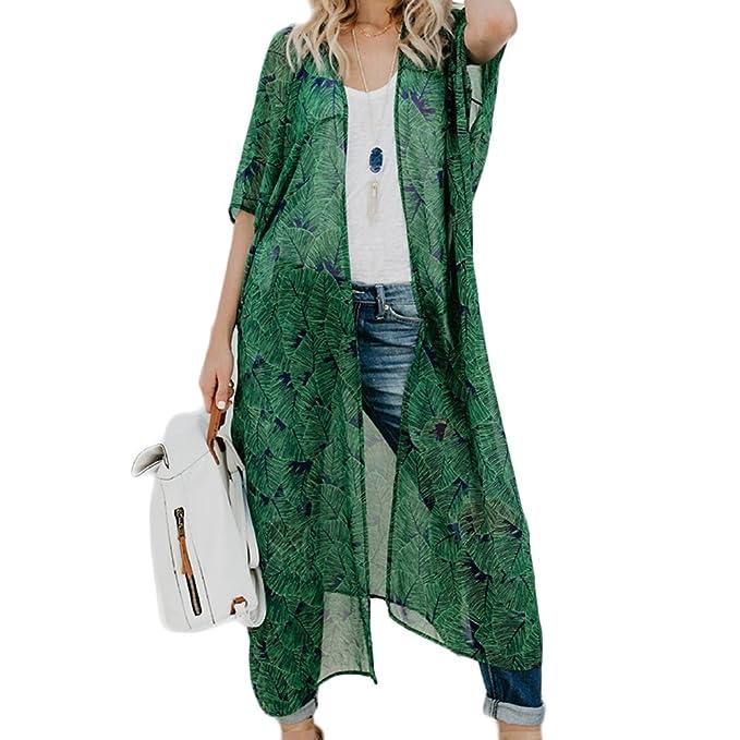 Chaquetas de Punto para Mujer, Estampado Gasa Chal Flojo Kimono Cardigan Top Cover Camisa Blusa