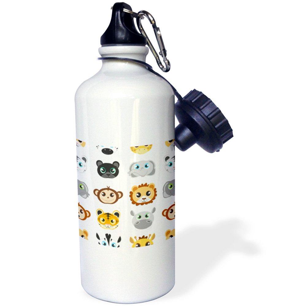 3dRose wb_203405_1''Cute Baby Jungle Animal Pattern White'' Sports Water Bottle, 21 oz, Multicolor