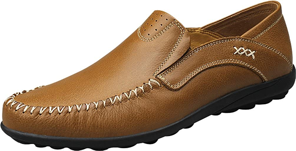 QZYYU-TZ1701 Mens Stylish Moccasins Driving Slide Boat Shoes Leisure Comfy Slip On Breathable Flat Sole Antiskidding Walking Simple Loafers