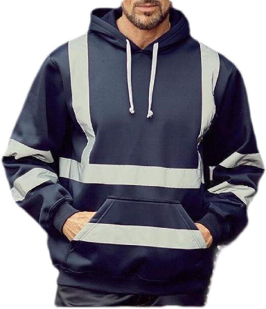 Joe Wenko Mens Long Sleeve Casual High Visibility Outdoor Hooded Sweatshirts