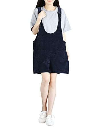 9f85240c9035 Amazon.com  Gihuo Women s Loose Fit Corduroy Overall Shorts Wide Leg Rompers  Shortalls  Clothing
