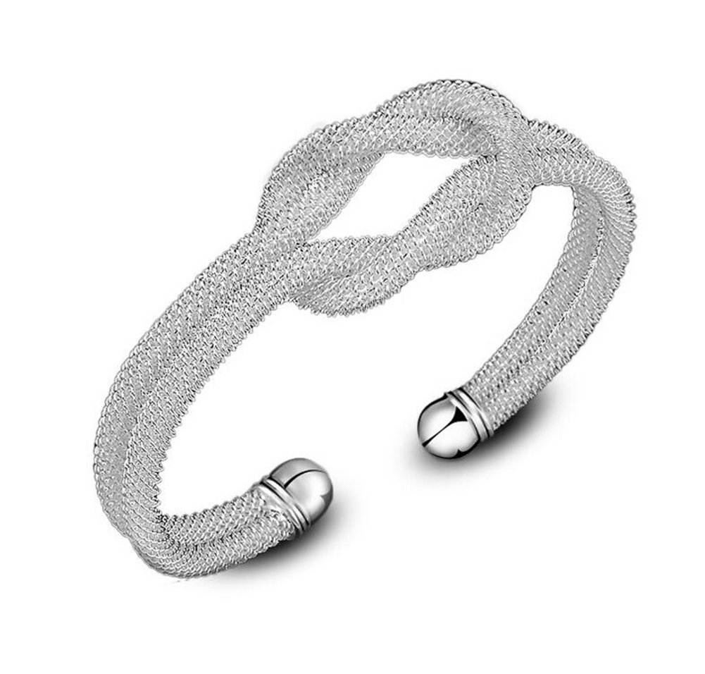 LAMEIDA 1 Pcs Charm Fashion Bracelet Mesh Knot Bracelet for Ladies Women Girls Gift Silver