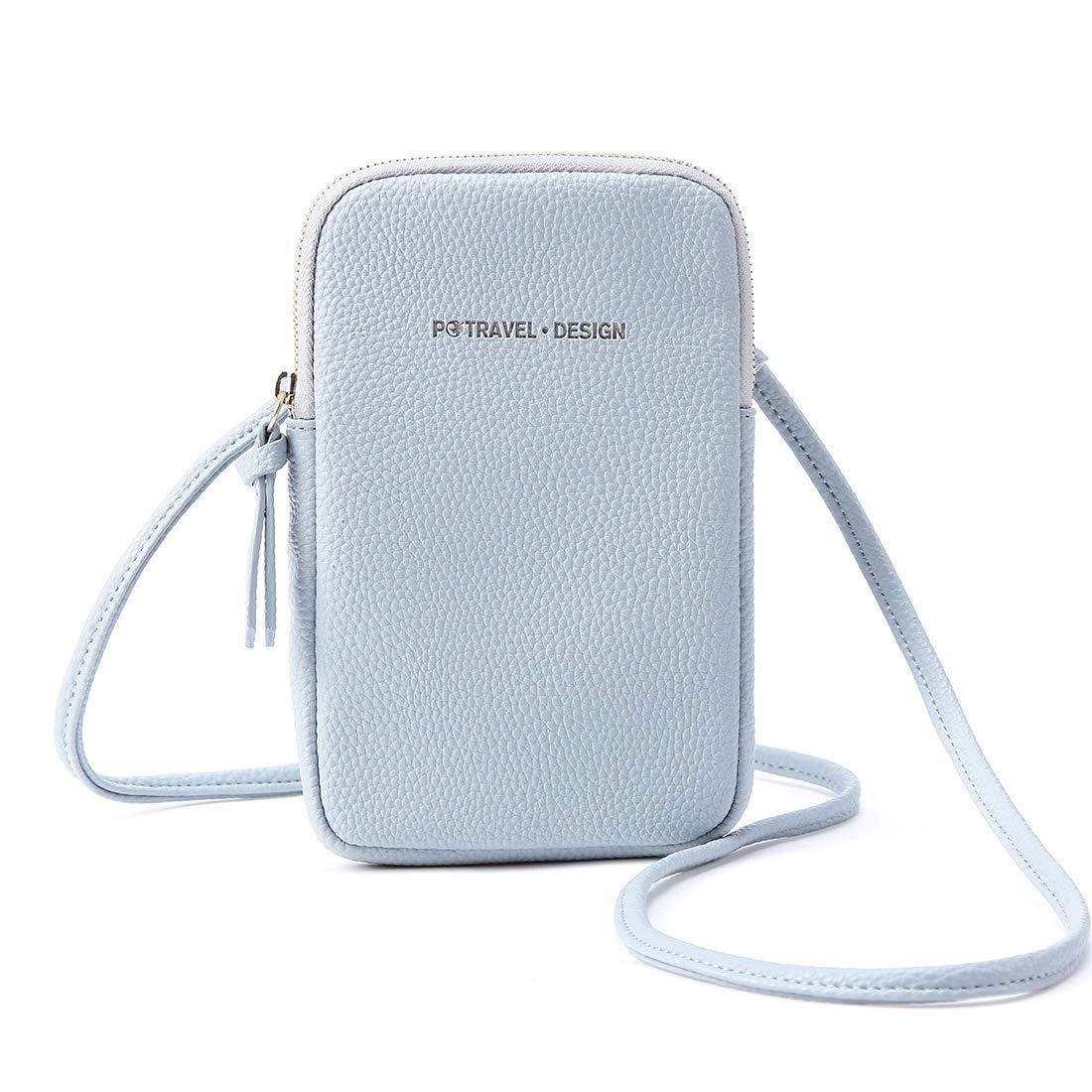 Damen Mini Handytasche Tasche Handy Kleine Umhängetasche Klassisch Messenger Bags Leder Handtasche für Frauen Mädchen Alltag Reise Grosse Smartphones 5.8 Zoll-Blau PTB003