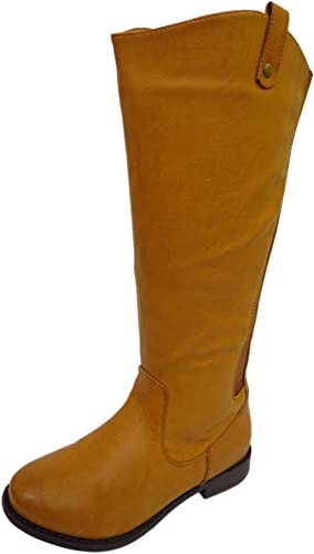 womens wide fit tan high leather boots