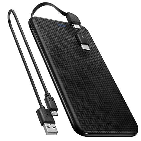 Spigen Essential F706C 5,000mAh Powerbank USB c [Integriertes Micro-USB Kabel] [USB Typ C Adapter enthalten] Ultra Slim Light
