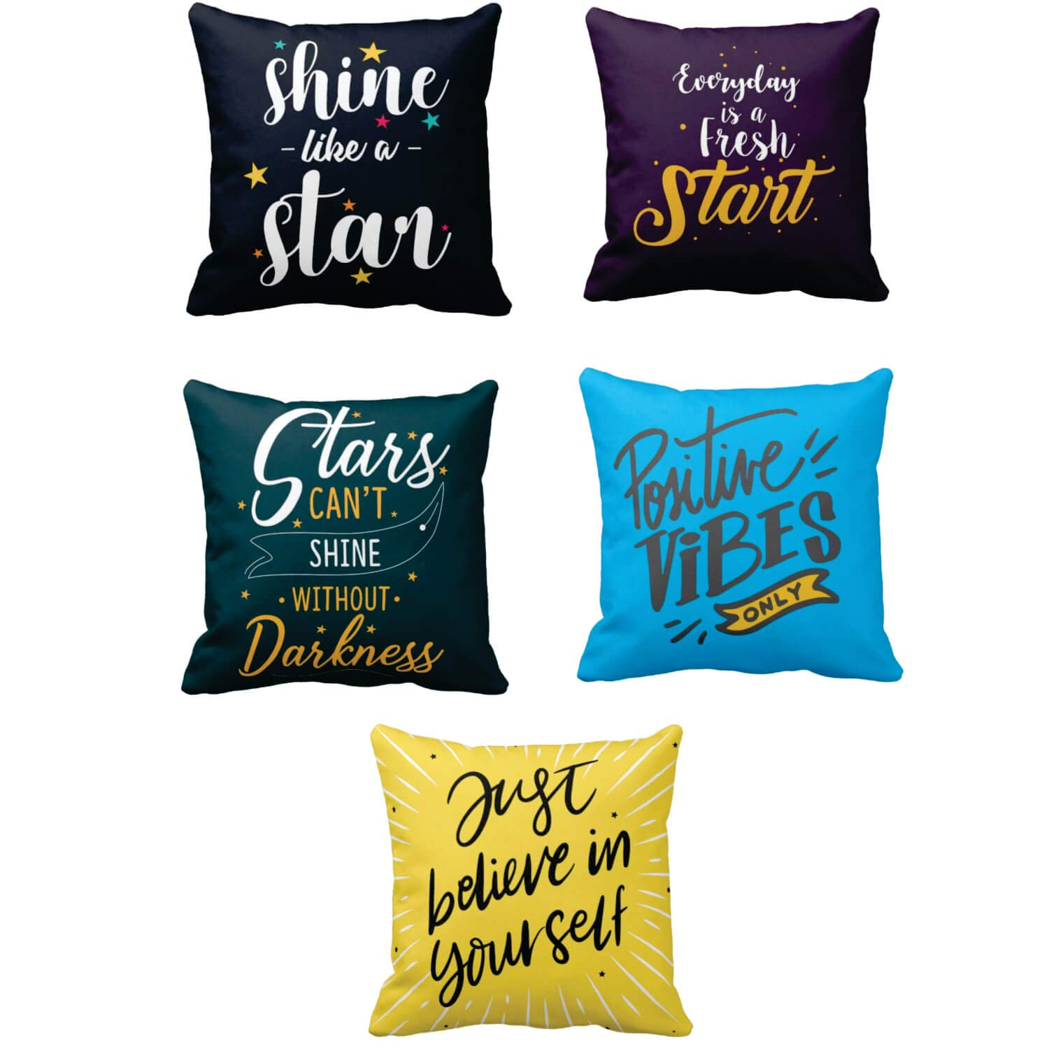 Buy Theyayacafe Canvas Cotton Cushion Covers Shine Like A Star Motivational Quotes Printed Sofa Throw Pillows Multicolor 12x12 Inches Set Of 5 Online At Low Prices In India Amazon In