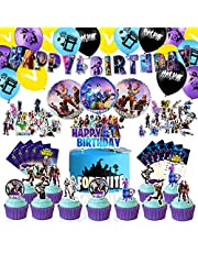 CANPA Video Game Party Supplies Birthday Party Decorations Set - 97PCS Include Happy Birthday Banner, Latex & Foil Balloons, Cake Topper, Cupcake Table Runner, Stickers and Invitations for Game Fans Boys Girls