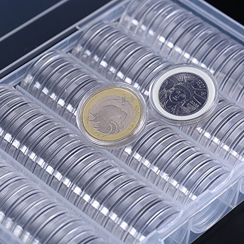 100 Counting Plastic Coin Capsules Round Coin Holder Case With Storage Organizer Box And EVA Gasket For Coin Collection Supplies, 30 MM By Shxstore by Shxstore (Image #5)