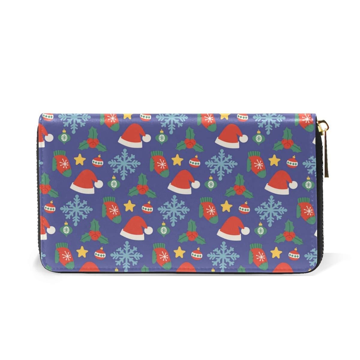 Ornaments Berenstain Bears Christmas Real Leather Zip Around Wallet Wristlet minimalist wallet Travel Purse Wristlet