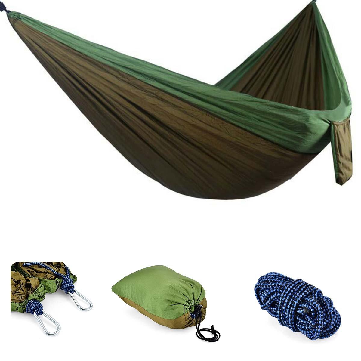 "Kamoキャンプhammock-double 2 Person hammock-軽量ポータブルナイロンハンモックキャンプ、ハイキング、ビーチ、ヤードを、旅行( 118 "" ( L ) X 78 "" ( W ) ) B077M8QSRW Brown & Green Brown & Green"