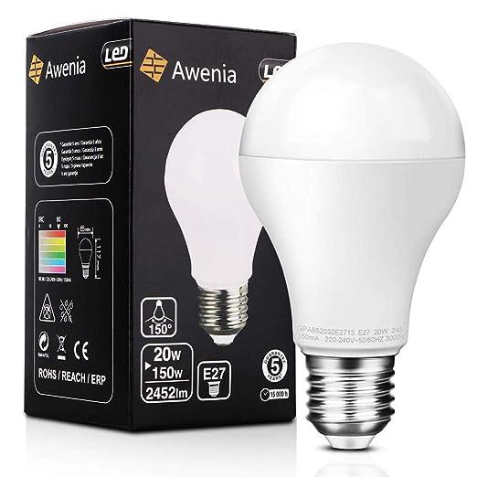 Awenia Bombilla LED Esférica E27 20W (Equivalente a 150W), Luz LED 3000K 2452 Lúmenes Blanco Cálido,1 Pack