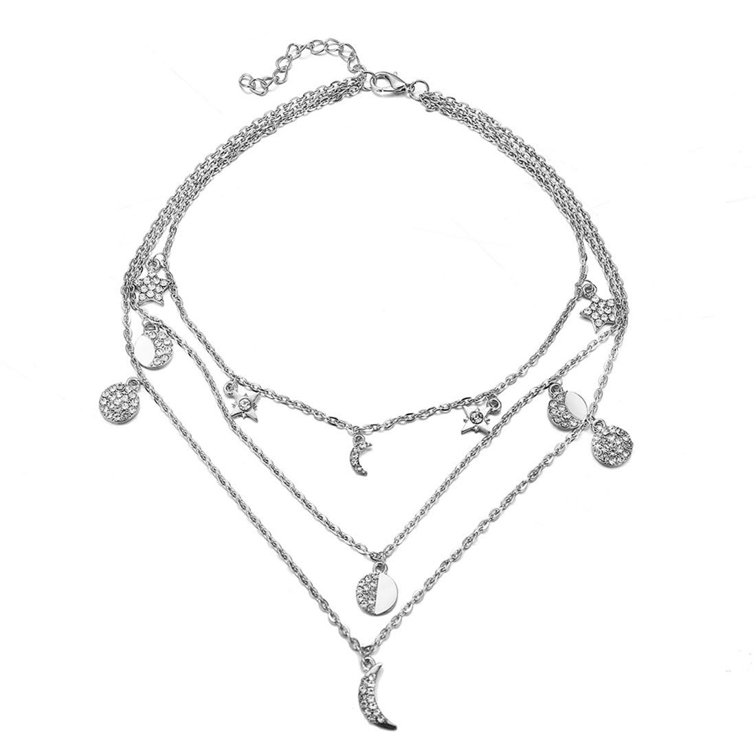 VWH Women Girl Multi Layer Choker Necklace Long Chain Pendant Necklace Sweater Necklace(Silver)