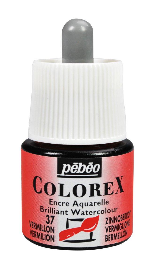 Pebeo Colorex, Watercolor Ink, 45 ml Bottle with Dropper - Vermilion