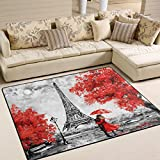 ALAZA Valentine's Day Lover Paris Eiffel Tower Area Rug for Living Room Bedroom 5'3 x 4′ Review