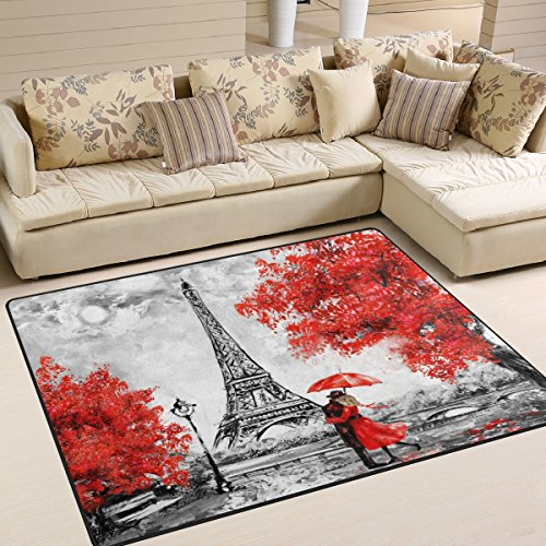 Cheap ALAZA Valentine's Day Lover Paris Eiffel Tower Area Rug Rugs for Living Room Bedroom 7′ x 5′